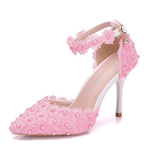 Women High Heels Sandals White Lace Pearls Wedding Shoes Pointed Toe Bridal Shoes (38 M EU / 7.5 B(M) US, Pink)