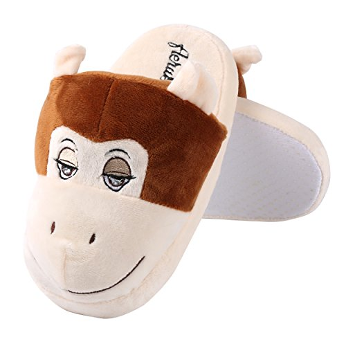 Plush Bedroom Kid Indoor Cute Monkey Slipper Aerusi House Animal Winter Adult Comfort Shoes wt8aSa