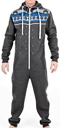 Novelty Mens Suits (SkylineWears Men's Fashion Onesie Hooded Jumpsuit One Piece non Footed Pajamas Hevan Charcoal S)