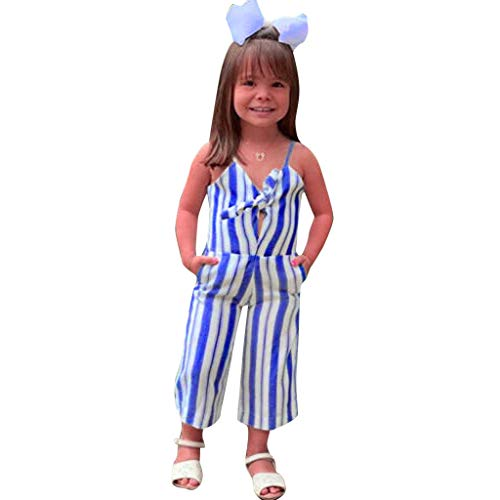 Baby Jumpsuit Ikevan Toddler Kids Baby Girls Strap Striped Jumpsuit Romper Clothes Sunsuit Outfit (3-4 Years【120cm】, Blue)