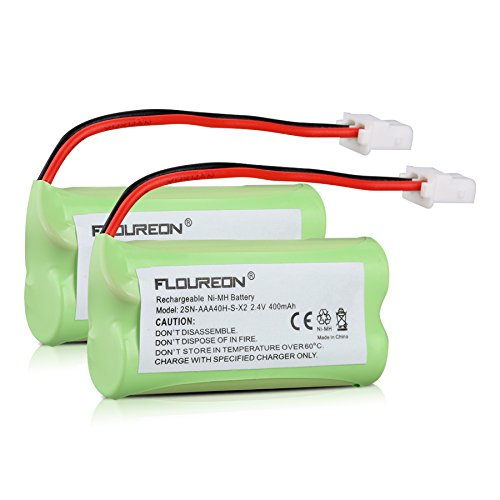 FLOUREON 2-Pack 2.4V 400mAh Ni-MH Rechargeable Replacement Battery Compatiable for 162342 BT262342 BT166342 BT266342 Replacement Cordless Phone Battery
