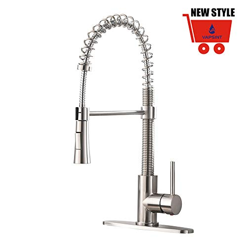 rcial Lead-Free Pull Down Sprayer Spring Brushed Nickel Kitchen Faucet, Single Handle Kitchen Sink Faucets with Deck Plate ()