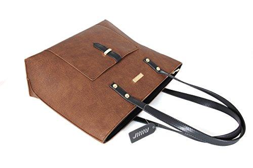 Nuur Womens & Ladies PU Leather Handbag Lady's Line Tote Bags-Brown