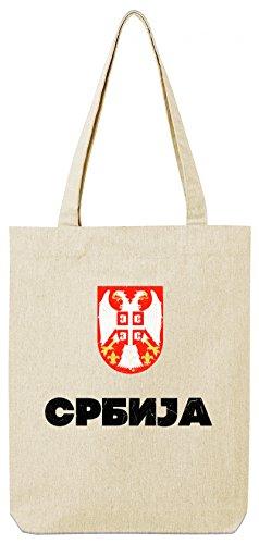 ShirtStreet Wappen Srbija Belgrad Länder Premium Bio Baumwoll Tote Bag Jutebeutel Stanley Stella Flagge Serbien Natural