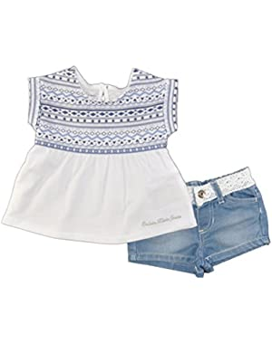 Baby Girls' S/S Printed Top With Denim Short 2 Piece