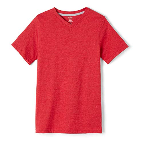 French Toast Boys' Toddler Short Sleeve V-Neck Tee, Red Heather, 2T