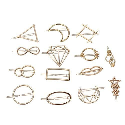 - ANBALA Minimalist Dainty Geometric Metal Hairpin 14pcs Hair Clip Clamps for Women, Circle, Triangle, Rhombus, Star, Moon, Diamond, Infinity etc