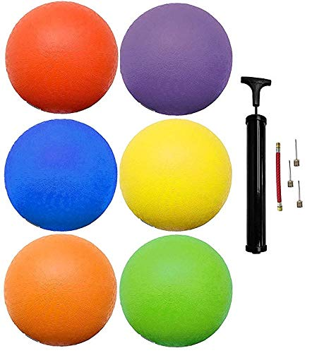 (6 Pack) Rubber Kick Balls 8.5 inch Dodgeball Playground Balls for Kids and Adults – Official Size for Dodge Ball…