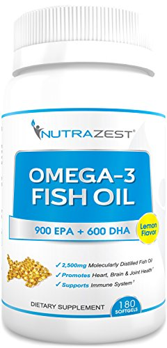 Premium Omega 3 Fish Oil - 2500mg Lemon Flavored, Cold Pressed, Triple Strength Fish Oil Capsules - 900mg EPA & 600mg DHA for Heart, Joints, Brain, Vision & Immunity Benefits – 180 Softgels