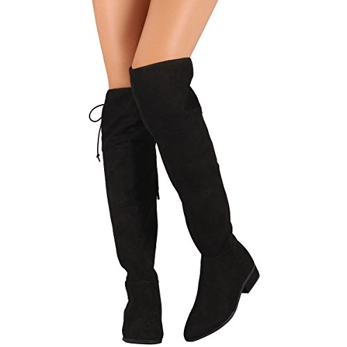 Bamboo Womens Pointy Toe Lace Up Fold-Able Cuff Vegan Suede Over The Knee High OTK Riding Boot 8.5 Black (Bamboo Lace Up Boots)
