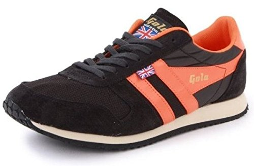 Gola Pacer Black Orange Made in England Suede New Mens Trainer Shoes -8