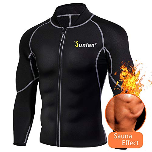 Men Sweat Neoprene Weight Loss Sauna Suit Workout Shirt Body Shaper Fitness Jacket Gym Top Clothes Shapewear Long Sleeve (Black, L) ()