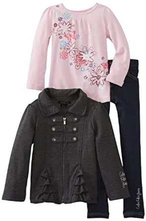 Calvin Klein Little Girls' Jacket With Pink Tee And Jean, Gray, 4