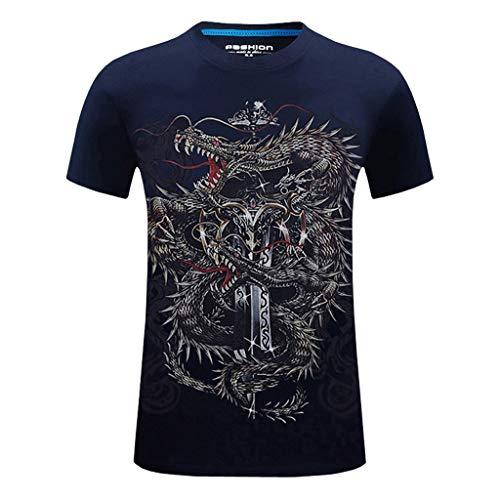 - Fashion Men's Retro Short Sleeve, Mmnote Flying Dragon Sword Printing Original Elastic Antibacterial T-Shirt Dark Blue