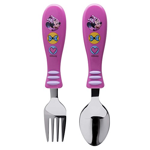 Zak Designs Minnie Easy Grip Flatware Fork And Spoon Utensil Set - Perfect for Toddler Hands With Fun Characters, Contoured Handles And Textured Grips, Minnie Bowtique