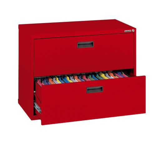 Sandusky 400 Series Red Steel Lateral File Cabinet with Plastic Handle, 30