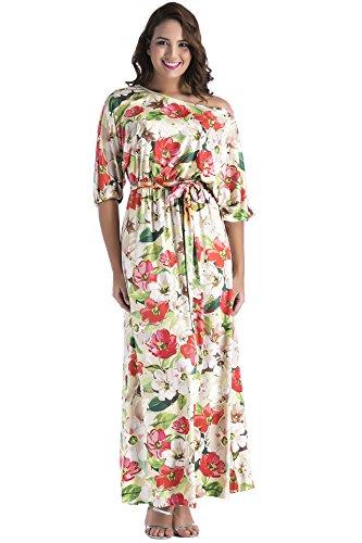 Aecibzo Taille Plus Femmes Imprimé Floral 3/4 Manches Longues Maxi Robe Décontractée Avec Ceinture Rouge Floral