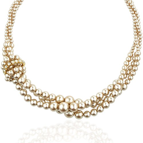 (Tagoo Simulated Pearl Chunky Collar Necklace 17.5