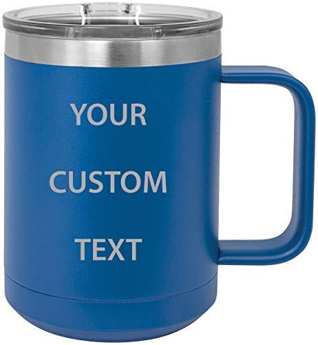 Personalized Add Your Custom Text Insulated 15 Oz Coffee Mug Customizable (Blue)