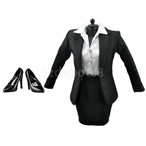 1:6 Female Black Skirt Suit High Heels for 12'' Action Figure Body Accessory by uptogethertek