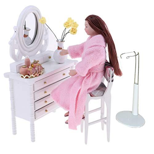 - NATFUR 1/12 Dollhouse Furniture Kit Drawer Dresser Stool Flower Woman Figures