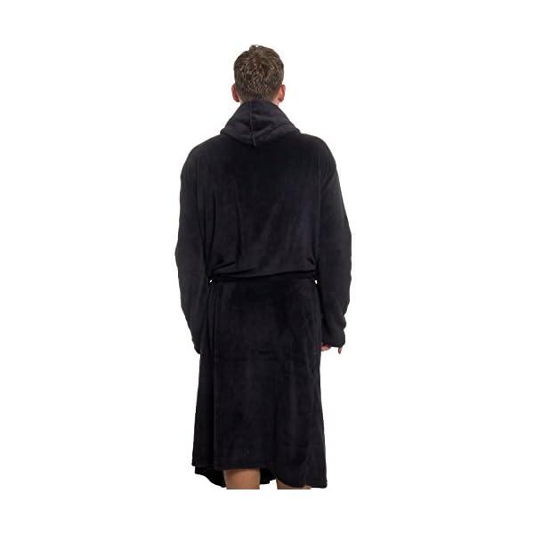 Ross Michaels Mens Hooded Robe - Plush Shawl Kimono Bathrobe