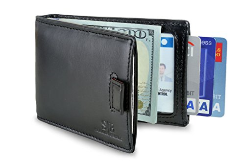 Travel Wallet RFID Blocking Bifold Slim Genuine Leather Thin Minimalist Front Pocket Wallets for Men Money Clip - Made From Full Grain Leather (Midnight Black 3.0) ()