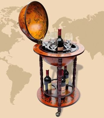 SKB Family Globe Bar Wine Container Bottles and Glasses Storage Solid Wood