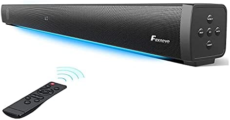 Foxnovo Sound Bars for TV: 60W Deep Bass TV Sound Bar with Respiration Gentle Wired & Wi-fi 3D Surrounded Residence Theater Audio 109dB Mountable Sound Bar TV Audio system Optical/AUX/USB/ARC HDMI Connection