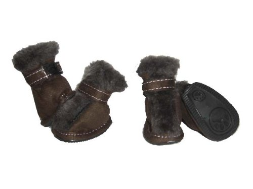 Pet Life Ultra Fur Comfort Year-Round Protective Boots in Dark Brown – Small, My Pet Supplies
