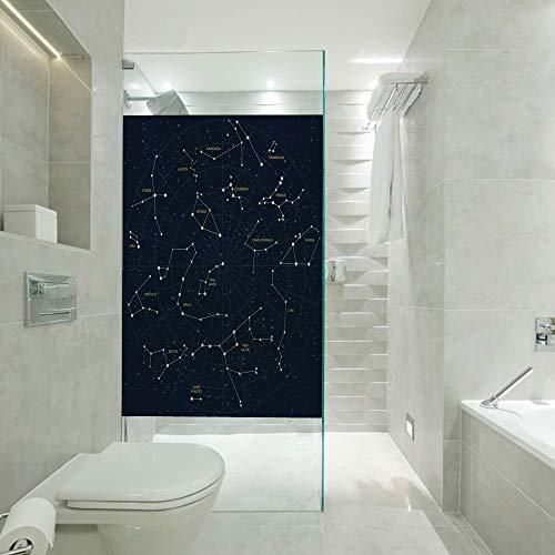 RWNFA Heat Control Privacy Window Film Glass Stickers,Sky Map Andromeda Lacerta Cygnus Lyra Hercules Draco Bootes Lynx,Customizable Size,Suitable for Bathroom,Door,Glass etc,Dark Blue Yellow White ()