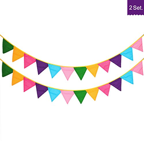 24 Pcs/18 Feet Fabric Banner Decorations,Pennant Flag,Triangle Bunting,Hanging Polka Dots Garland for Kids Room,Baby Shower,Birthday,Wedding, Spring Theme Party,Window Decorations(Multi-colored) (Indoor Decorative Garland Christmas)