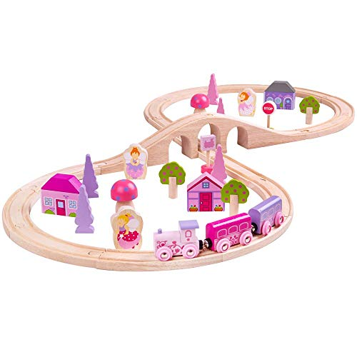 Bigjigs Rail Wooden Fairy Figure of Eight Train Set - 40 Play Pieces (Rail National Christmas)