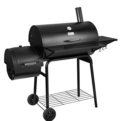 Royal Gourmet BBQ Charcoal Grill and Offset Smoker, 30'' L, 800 Square Inch, Outdoor for Camping, Black (Gas Charcoal Smoker Grill)