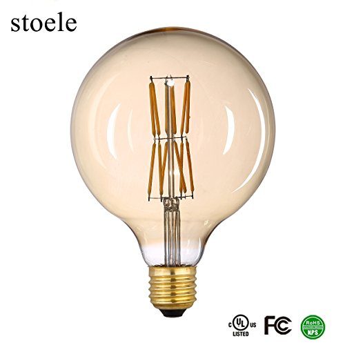 Antique Nickel Angle Supply (stoele G125(G40) Antique Edison LED Bulb Dimmable12 PCS COB filament 120V 6W(60W Equivalent) 600 Lumens 2700K(Warm white) Gold Tint Finish, Retro LED Filament 360° Beam Angle E26 Medium Base 1 Pack)