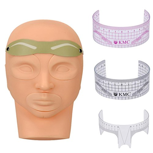 Hatop Practice Skin Model Head Tattoo Card Ruler For Permanent Makeup Eyebrow Set (50s Tattoos)