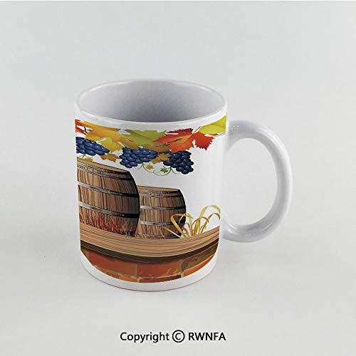 11oz Unique Present Mother Day Personalized Gifts Coffee Mug Tea Cup White Grapes Home Decor,Wood Wine Barrels with Faded Golden Autumn Leaves Fall Sunlight Design,Orange Brown Funny Ceramic Coffee T (Ct Co Southern Wine)