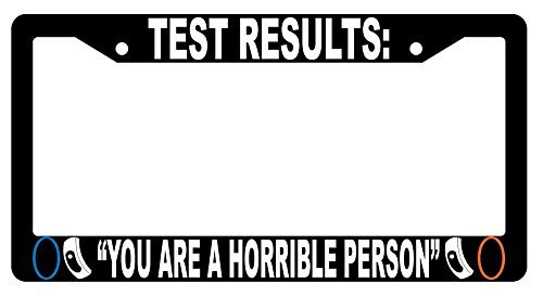 Test Results: You Are A Horrible Person Black Plastic License Plate Frame Video Game Theme