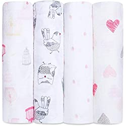 aden + anais Swaddle Baby Blanket; 100% Cotton Muslin; Large 47 X 47 inch; 4-pack; lovebird