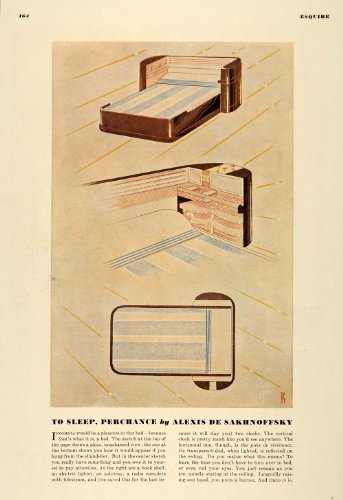 1936 Print Bedroom Sleep Lighter Ashtray Radio Clocks - Original Color Print