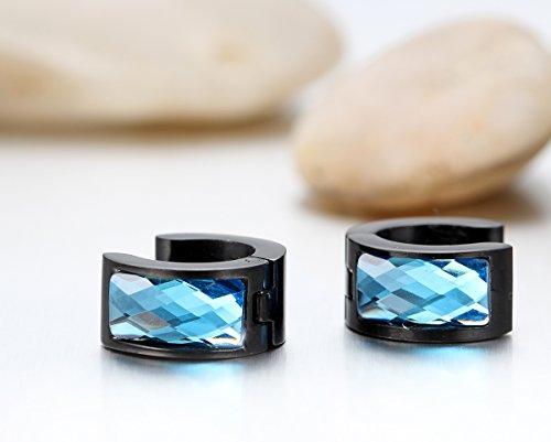 JewelryWe Bijoux Boucles d'oreilles Homme Femme Anneaux à Charnière Acier Inoxydable pour Homme Femme Couleur Bleu Noir Avec Sac Cadeau