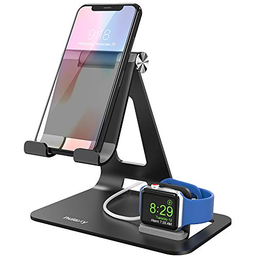 Apple Watch Stand, Nulaxy Tablet iPhone iWatch Stand Desktop Stand Holder Compatible with iPhone XR XS MAX 6S 7 8 Plus, Samsung, New iPad Pro Air Mini 2 3 4, Kindle, E-Reader (4-13 inch) - Black