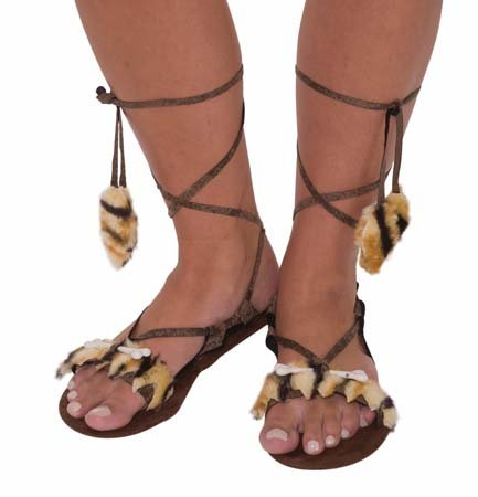 Forum Novelties Women's Stone Age Costume Sandals, Brown, One Size