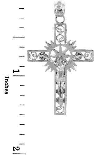 10 ct 471/1000 Or Blanc Crucifix - L'Espoir Crucifix Pendentif