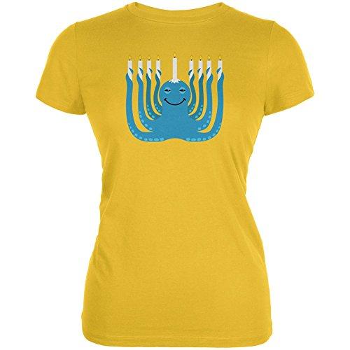 Hanukkah Menorah-ctopus Funny Octopus Bright Yellow Juniors Soft T-Shirt - ()