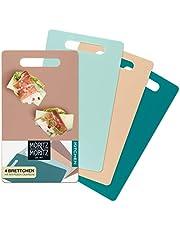 Moritz & Moritz 4 x flexibele snijplank kunststof klein - elk 25 x 14,5 cm - ontbijtplankje - snijplank voor veilig snijden met greepopening (gekleurd)