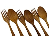 7'' HAND CRAFT WORK TEAK WOODEN FORK AND SPOON SALAD TONG RARE 6pc
