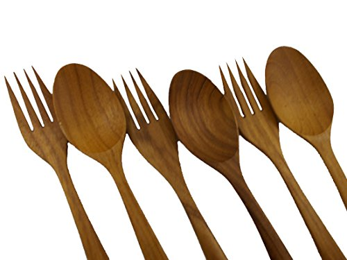 7'' HAND CRAFT WORK TEAK WOODEN FORK AND SPOON SALAD TONG RARE 6pc by Mr_air_thai_Kitchen