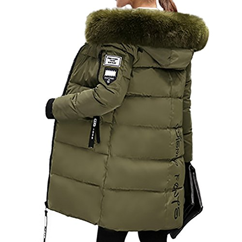 Fur Trim Long Hooded Coat (KARKEIN Women's Mid-length Thickened Cotton Padded jacket with Faux Fur Trim Hood Winter Warm Parka Coat)