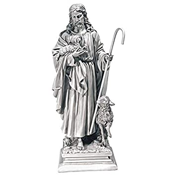 Design Toscano Jesus the Good Shepherd Religious Garden Statue, Large, 71  cm, Polyresin, Antique Stone
